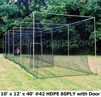 Batting Cage Net 10' x 12' x 40' #42 HDPE (60PLY) with Door Heavy Duty Baseball