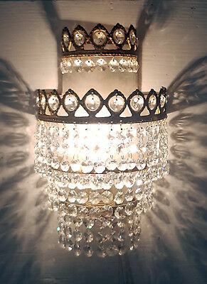 Antique Brass & Crystals Wall Sconce from 1950's