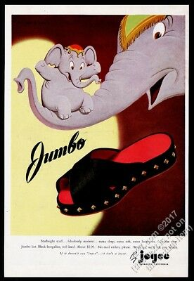 1945 elephant and baby GREAT Philippi Coats art Joyce shoes vintage print ad