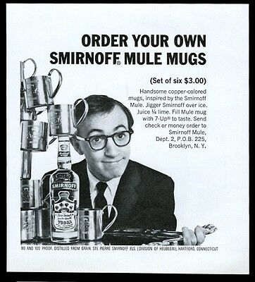 1966 Woody Allen photo with Smirnoff vodka mule mugs vintage print ad
