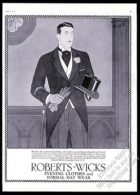 1926 handsome man top hat tails Roberts-Wicks formal clothes vintage print ad
