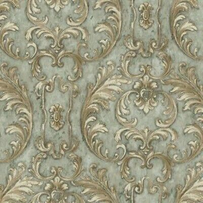 Baton Rouge Blue Antique Neo Classical Scroll Formal Unpasted Wallpaper NV6005