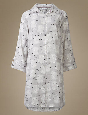 MARKS AND SPENCER M S Sheep Print Brushed Cotton Nightshirt Nightie ... 3a14c455f