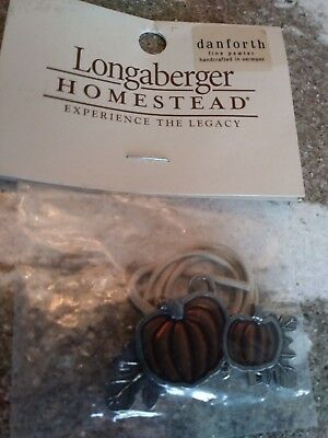 Longaberger Fall Pewter Pumpkin Tie-on mint in package, FREE SHIPPING!