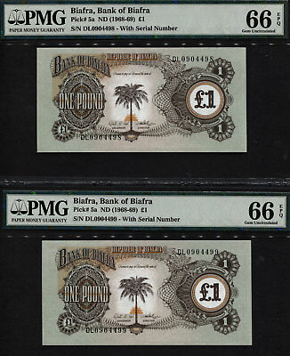TT PK 5a ND (1968-69) BIAFRA 1 POUND PMG 66 EPQ SEQUENTIALLY NUMBERED SET OF 2!