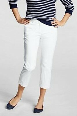 NEW! Lands End WOMENS FIT 2 CHINO SLIM ANKLE PANTS WHITE 4P PETITE