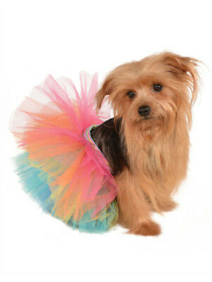 Small Medium Rainbow Princess Clown Ballet Dancer Tutu Skirt For Pet Dog