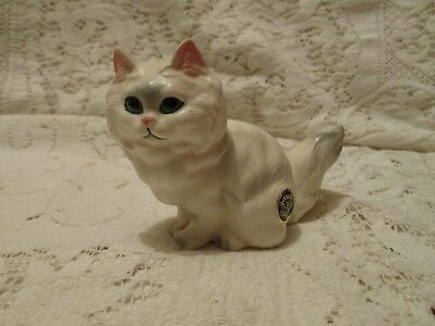 Vintage Josef Originals White Cat Kitten Figurine Original Foil Label