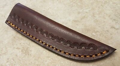 Brown Embossed Leather Fixed Blade Knife Belt Sheath