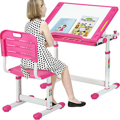 ADJUSTABLE CHILDRENS Desk and Chair Set Kids Study Table Set Desk