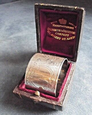 Superb LARGE Cased ~ SOLID SILVER ~ Napkin RING ~ B'ham 1898 by Colen Cheshire