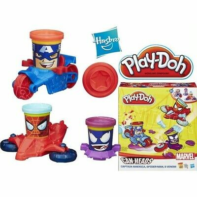 Play-Doh Marvel Can-Heads Featuring Captain America, Spider Man & Venom New in B