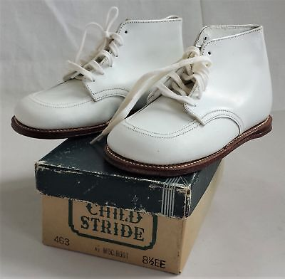 vintage CHILD STRIDE white leather SHOES w Box 8 1/2 EE Moc Boot 463 unused high