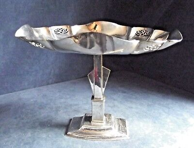 """SUPERB Large 12"""" ~ ART DECO ~ SILVER Plated ~ Cake STAND / Tazza ~ c1935 Turton"""
