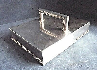 """SUPERB Large 12"""" ~ ART DECO ~ SILVER Plated ~ WAITERS Hand TRAY ~ c1935"""