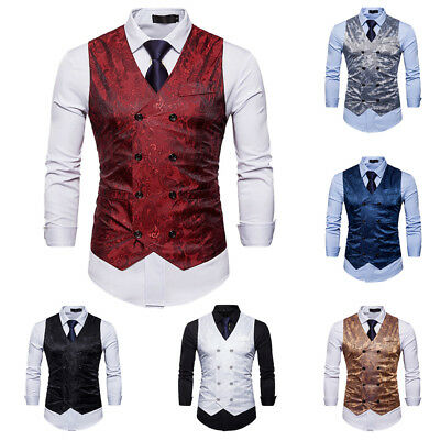 Mens Double Breasted Bridegroom Suit Dress Waistcoat Wedding Formal Coat Vest