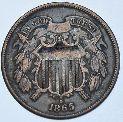 Usa United States, Two Cents, 1865 Bronze Coin Gvf