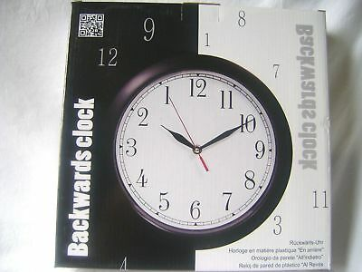 New Backwards Clock Reverse Running Hands Wall Mounted Novelty Confuse Guests!