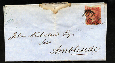 GB QV 1856 1d. Red Plate 33 HH SG 29 (Spec C8)  Entire WINDEREMERE to AMBLESIDE