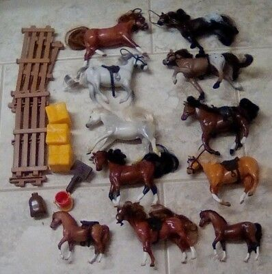 Play Lot of Vint. Empire Grand Champion Miniature Horses & Equipment 15+ pieces