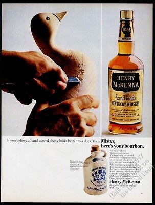 1967 duck decoy carving photo Henry McKenna Whiskey vintage print ad