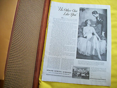 """Rare Vintage 1931 Singer Sewing School Ad - """"No Other One Like You"""""""