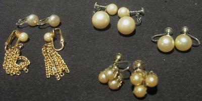 Coro, Marvella, Celebrity & Other 5 Pair Vintage Faux Pearl Non-Pierced Earrings