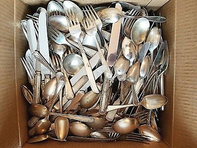 Vintage Antique 25 lbs Silverplate Flatware Mixed Lot  Art, Crafts, Jewelry