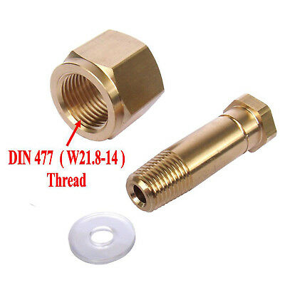 New DIN 477/ W21.8 CO2 Carbon Dioxide Regulator Inlet Nut & Nipple with Washer