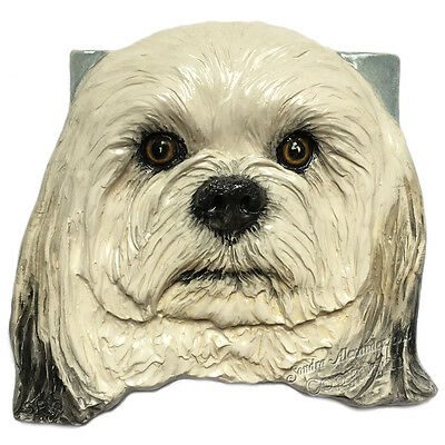 Havanese Dog Ceramic Tile Handmade 3d Pet Portrait Placque Sondra Alexander Art
