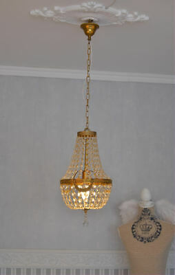 Antique Chandelier Ceiling Light France Crystal Lamp Basket Vintage Brass