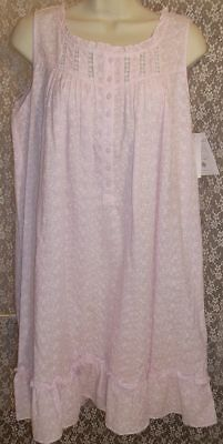 44e26de818 NWT SMALL S EILEEN WEST NIGHTGOWN Woven Cotton Sleeveless Knee Length Gown  Pink