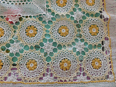 retro Crocheted Crocheted Tablecloth - 160 cms x 220 cms Yellow & White