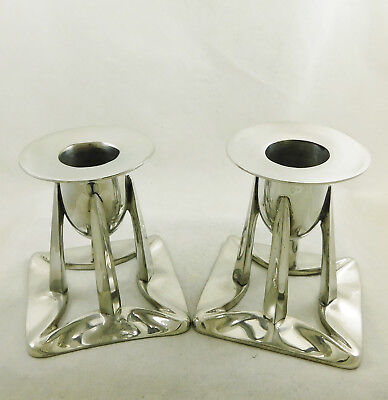 Archibald Knox Liberty Design Candlesticks English Pewter Hand Made in England
