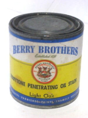 Vintage Berry Brothers Penetrating Oil Stain Paper Label Metal Can Half Full