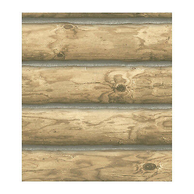 3-D Light Blonde Log Cabin Sure Strip Wallpaper CH7977