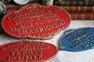 Three Vintage French Metal Agricultural Prize Award Plaques (ref 2)
