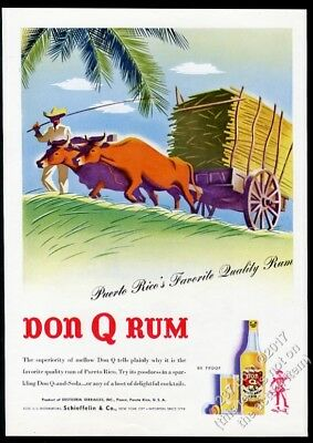 1944 Don Q Rum ox cart nice color art vintage print ad