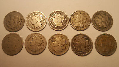 Lot of 10 Three Cent Nickels 1865-1881 3 Cents NICE