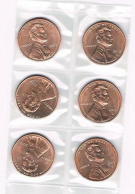 "2013 P&d Lincoln Shield Cent (3 ""p"" & 3 ""d"") Uncirculated Coins From Bank Rolls"