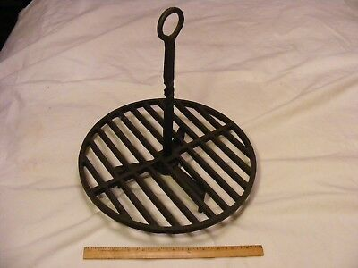 > Early & Unusual Rotating Broiler Cast Iron with Wrought Iron Handle  no cracks