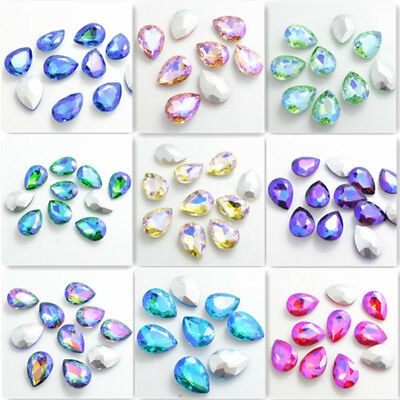 Wholesale Color AB10pcs Crystal Glass rhinestones Teardrop beads 14mm~18mm