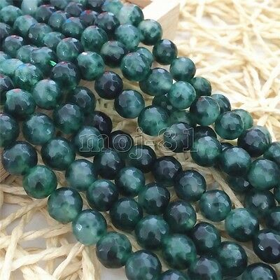 8mm Natural Faceted Green Emerald Round Gemstone Loose Beads 15'' AAA