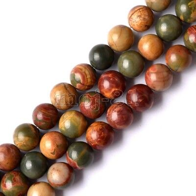 8MM Natural Smooth Picasso Jasper Gemstone Round Loose Beads 15'' AAA DIY