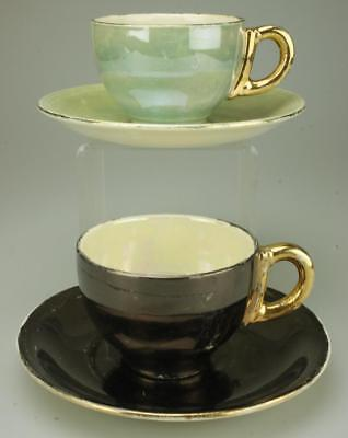 Two Duos Grindley England Iridescent Look Demitasse Cups Saucers Gold Trim TB36