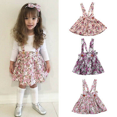 Newborn Toddler Baby Girl Floral Party Princess Bib Strap Skirt Dress Clothes AU