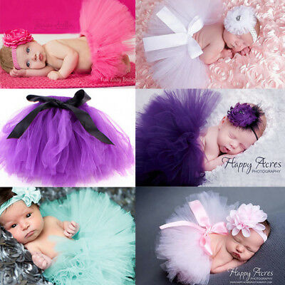NEW Baby Girls Tutu Skirt Headband Costume Photo Photography Props Outfits