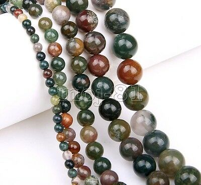 4/6/8/10/12mm Natural India Agate Round Gemstone Loose Spacer Beads 15'' Strand