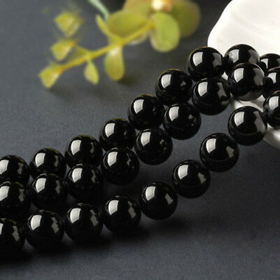14mm Natural Black Agate Onyx Round Gemstone Loose Beads 15'' Strand AAA