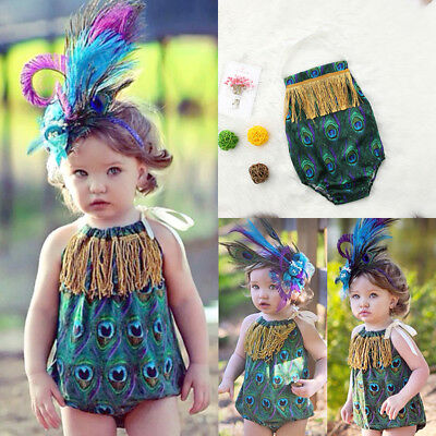 Newborn Infant Baby Girl Peacock Feather Tassels Romper Bodysuit Jumpsuit Outfit